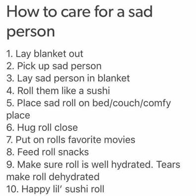 sad person care